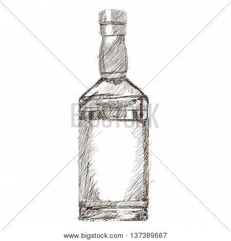 simple flat design liquor bottle sketch icon vector illustration