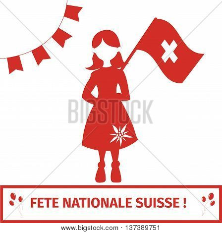 Switzerland national independance day greeting card. Girl holding swiss flag