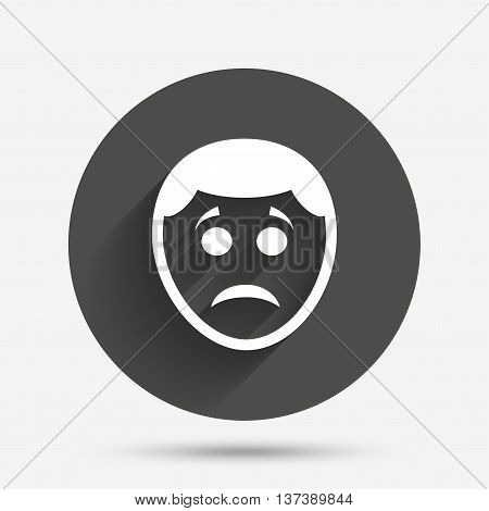 Sad face sign icon. Sadness depression chat symbol. Circle flat button with shadow. Vector