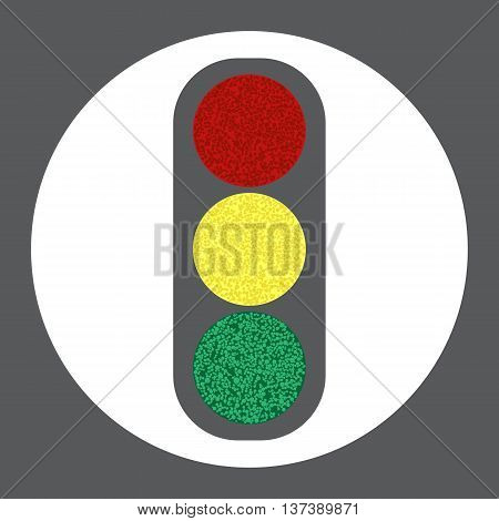 Vector icon of traffic light. Cute traffic lights image.