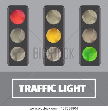 Vector image of traffic lights in different modes. Traffic lamp icons.