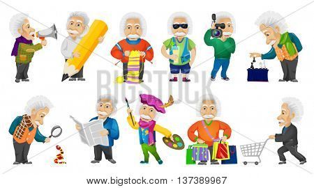 Vector set of old man shouting in megaphone, using magnifier, knitting a scarf, drinking cocktail, playing chess, doing shopping, reading newspaper. Vector illustration isolated on white background.