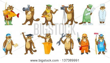 Set of cute beavers in clothes of different professions such as artist, photographer, surgeon, carpenter, graduate, painter, doctor, plumber, mailman. Vector illustration isolated on white background.