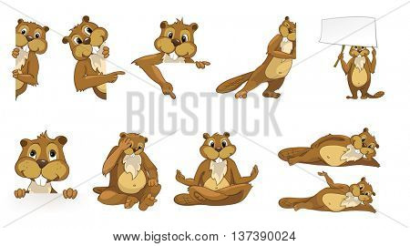 Set of cute beavers posing with white blank placard. Set of cheerful and happy beavers sitting, lying and relaxing while doing yoga. Vector illustration isolated on white background.