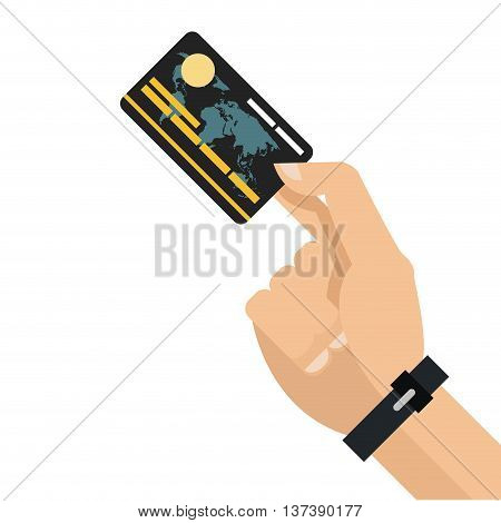 simple flat design hand holding credit or debit card icon vector illustration