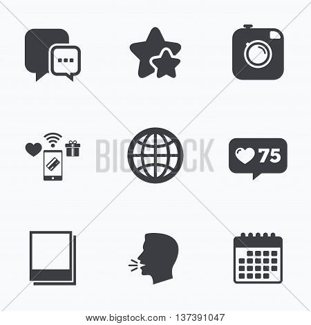 Social media icons. Chat speech bubble and world globe symbols. Hipster photo camera sign. Polaroid photo frames. Flat talking head, calendar icons. Stars, like counter icons. Vector