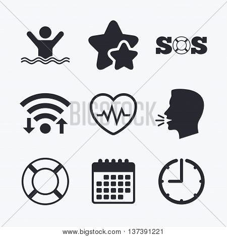 SOS lifebuoy icon. Heartbeat cardiogram symbol. Swimming sign. Man drowns. Wifi internet, favorite stars, calendar and clock. Talking head. Vector