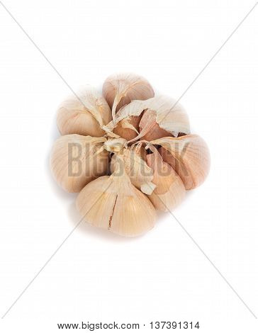 Fresh garlic Top view on white background.