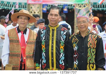 SIPITANG SABAH MALAYSIA - August 30 2014 : A group of Lundayeh and Murut in their traditional costume during folklore festival call GaTa festival in Sipitang Sabah Malaysia. Both tribe is one of Sabah ethnic mostly reside in the interior.