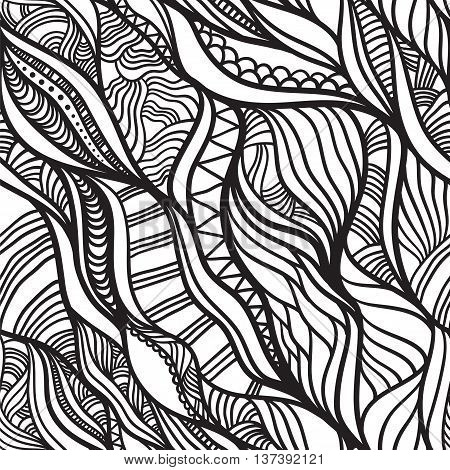Abstract waves pattern. Hand drawn graphic work. Vector seamless pattern.