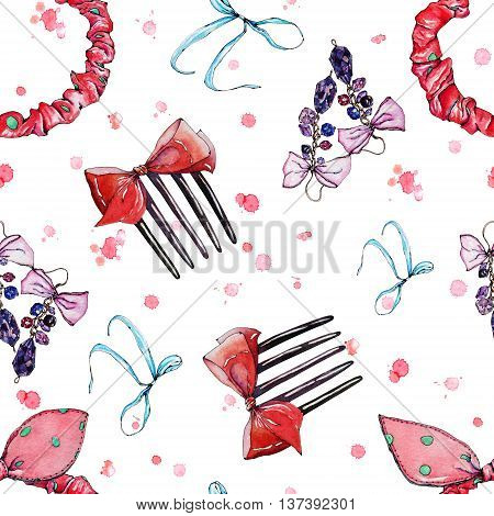 Bows watercolor seamless handpainted pattern with girl's accessories