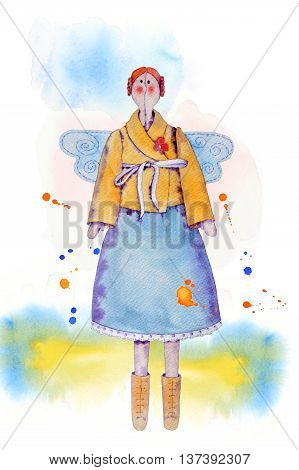 Red hair fairy doll tilda in blue skirt and yellow jacket and ribbon bow with wings.