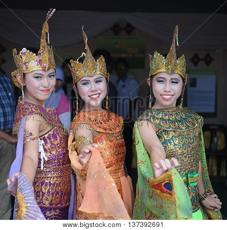 Sipitang Sabah Malaysia.August 30 2014 : Young girls from the Javanese ethnicity wearing traditional costume during Gata Festival in Sipitang Sabah Malaysia.