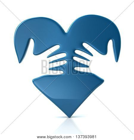 3D Illustration Of Blue Heart And Hands
