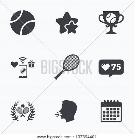 Tennis ball and rackets icons. Winner cup sign. Sport laurel wreath winner award symbol. Flat talking head, calendar icons. Stars, like counter icons. Vector