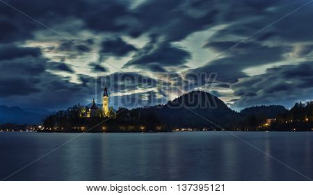 The church on the lake Bled and mountains in background, Slovenia