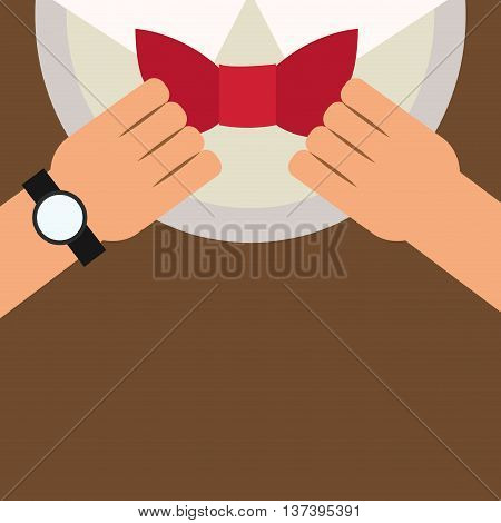 simple flat design man putting bowtie on icon vector illustration