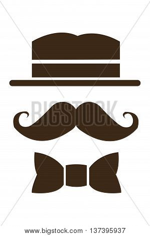 simple flat design hat mustache and bowtie icon vector illustration