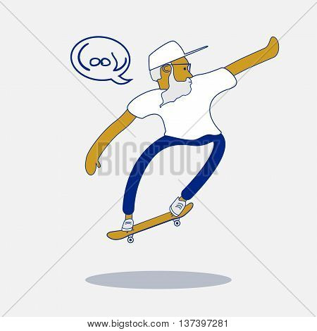 Cool vector hipster skater with beard and sunglasses doing a trick on skateboard. Urban citizen character. Skateboarding illustration.