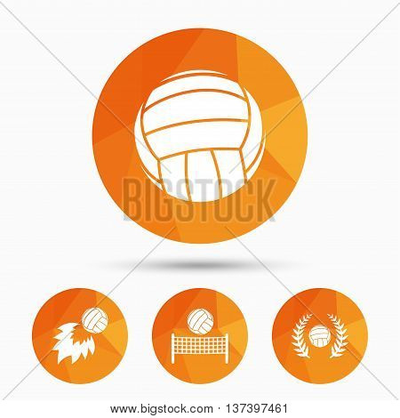 Volleyball and net icons. Winner award laurel wreath symbols. Fireball and beach sport symbol. Triangular low poly buttons with shadow. Vector