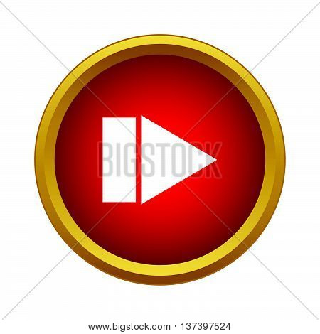 Play button icon in simple style in red circle. Controlling symbol