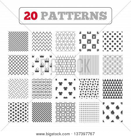 Ornament patterns, diagonal stripes and stars. Wash machine icon. Hand wash. T-shirt clothes symbol. Laundry washhouse and water drop signs. Not machine washable. Geometric textures. Vector