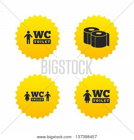 Toilet paper icons. Gents and ladies room signs. Man and woman symbols. Yellow stars labels with flat icons. Vector