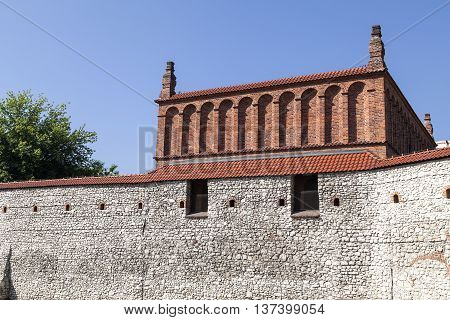 Defensive wall of old synagogue in jewish district of Krakow - Kazimierz on Szeroka street Poland