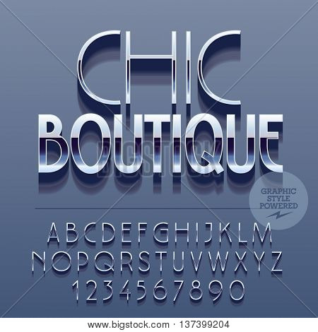Set of slim reflective alphabet letters, numbers and punctuation symbols. Vector glossy logotype with text Chic boutique. File contains graphic styles