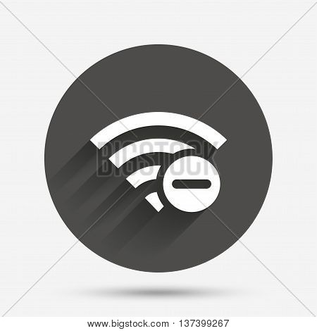 Wifi minus sign. Delete Wi-fi symbol. Wireless Network icon. Wifi zone. Circle flat button with shadow. Vector