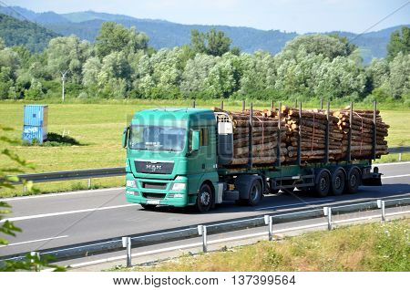 Dolny Hricov, Slovakia - June 29, 2016: Green MAN truck fully laden by wood drives on slovak D1 highway surrounded by rural landscape.
