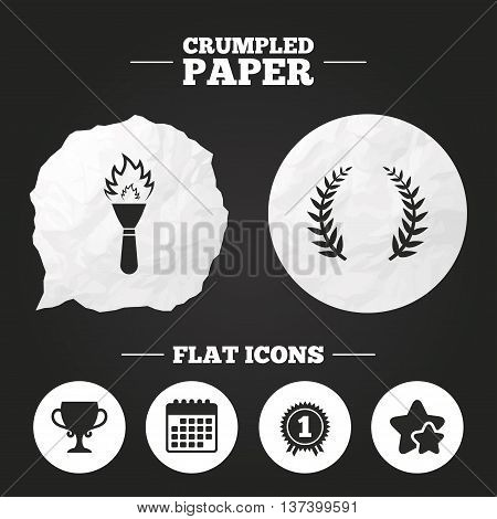 Crumpled paper speech bubble. First place award cup icons. Laurel wreath sign. Torch fire flame symbol. Prize for winner. Paper button. Vector