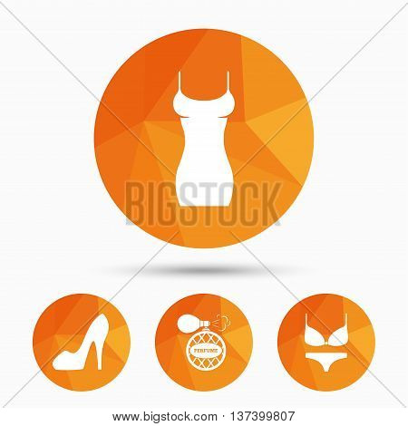 Women dress icon. Sexy shoe sign. Perfume glamour fragrance symbol. Intimates underwear. Triangular low poly buttons with shadow. Vector