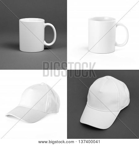 Collection of white mugs and baseball caps front side. Blank design for corporate identity.
