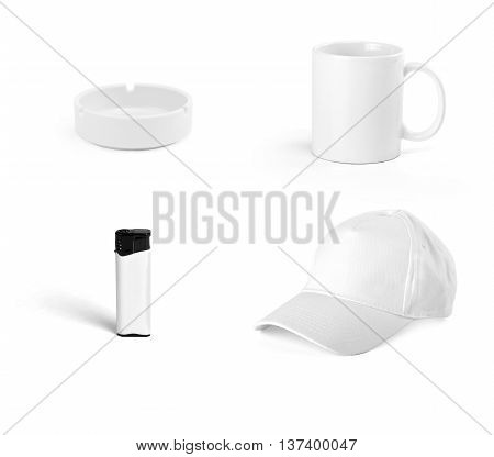 Set of white elements for corporate identity design on white background