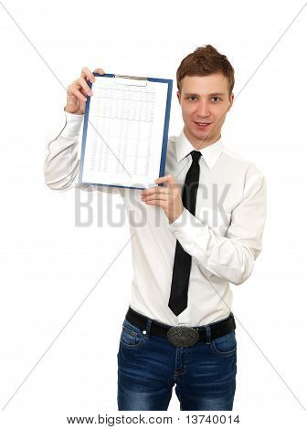 young man holds a clipboard