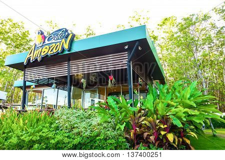 RANONG, THAILAND - MAY 9 : Cafe Amazon beverage shop at PTT Oil station on May 9, 2016 in Ranong province, THAILAND. AMAZON brand It's a popular and famous of franchise coffee house in Thailand.