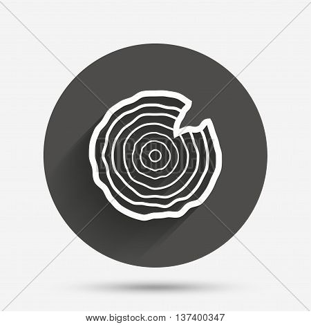 Wood sign icon. Tree growth rings. Tree trunk cross-section with nick. Circle flat button with shadow. Vector