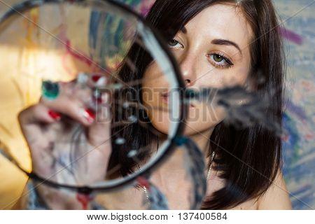 Girl Artist Painting On Glass Dream Catcher