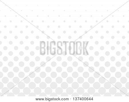 Halftone background of grey dots on white background. Gradient of large dots at the bottom and smaller dots at the top of illustration.