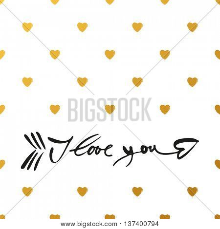 I LOVE YOU as a symbol of the arrows of Cupid. I love you - hand lettering. Concept design for greeting card: Valentines day, Love letter, Wedding invitation. Hand drawn calligraphy.