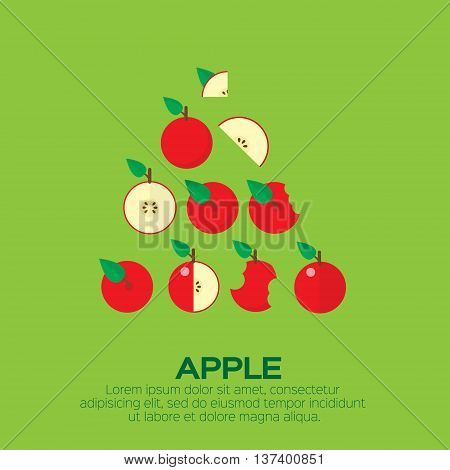 Summer set of red Apple. Whole and cut half healthy apple fruits. Vector illustration