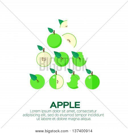 Summer set of green Apple. Whole and cut half healthy apple fruits. Vector illustration