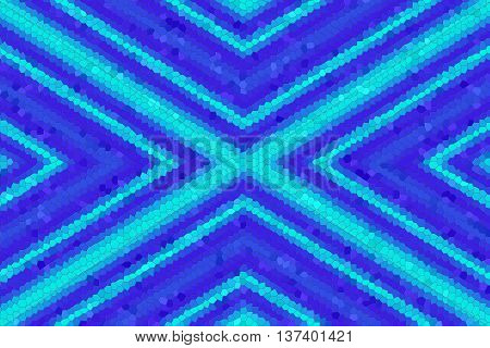 Illustration of a dark blue and light blue mosaic cross