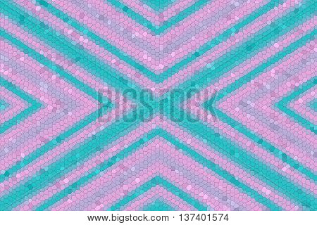 Illustration of a pink and cyan mosaic cross