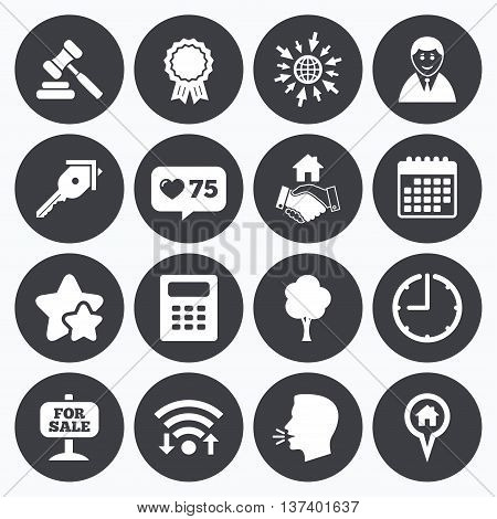 Calendar, wifi and clock symbols. Like counter, stars symbols. Real estate, auction icons. Handshake, for sale and calculator signs. Key, tree and award medal symbols. Talking head, go to web symbols. Vector