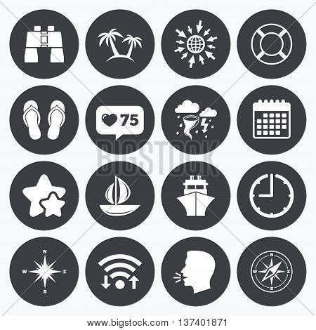 Calendar, wifi and clock symbols. Like counter, stars symbols. Cruise trip, ship and yacht icons. Travel, lifebuoy and palm trees signs. Binoculars, windrose and storm symbols. Talking head, go to web symbols. Vector