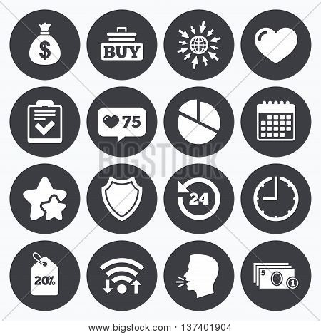 Calendar, wifi and clock symbols. Like counter, stars symbols. Online shopping, e-commerce and business icons. Checklist, like and pie chart signs. Money bag, discount and protection symbols. Talking head, go to web symbols. Vector