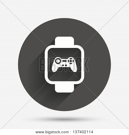 Smart watch sign icon. Wrist digital watch. Game joystick entertainment symbol. Circle flat button with shadow. Vector