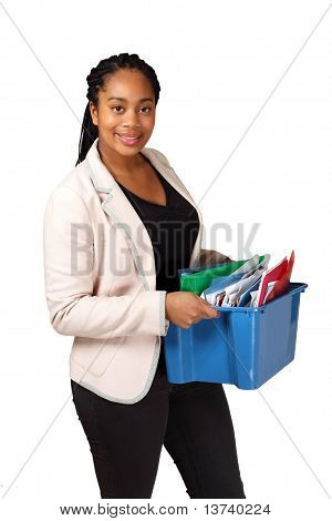 Girl with box of documents